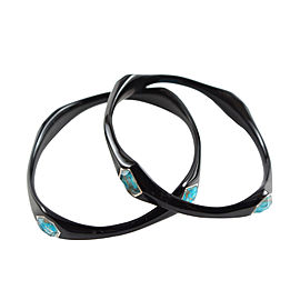 Ippolita Black Resin Sterling Silver Bronze Turquoise Bangle Bracelet