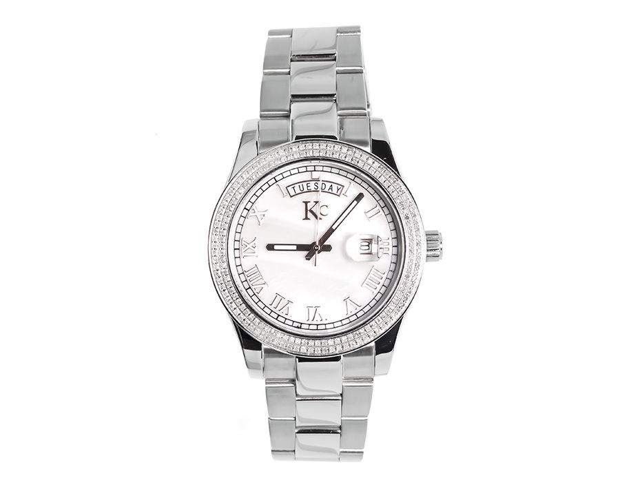"""Image of """"Techno Com KC White Gold Stainless Steel 41mm Day-Date Diamond Watch"""""""