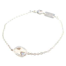 Ippolita Sterling Silver Pave Diamond Wavy Disc Chain Link Bracelet