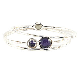 Ippolita Sterling Silver Purple Stone And Diamond Trio Set Bangle Bracelet