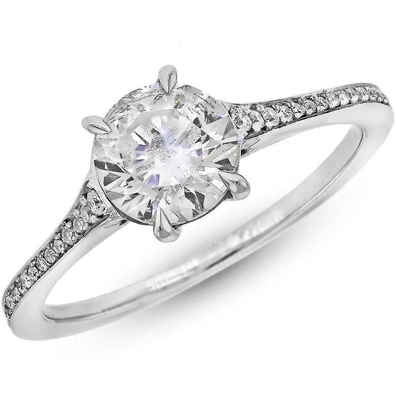 "Image of ""14K White Gold 1.50 Carat Round Cut Diamond Wedding Ring"""