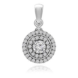 14K White Gold 1.00ct Diamond Round Halo Row Pendant