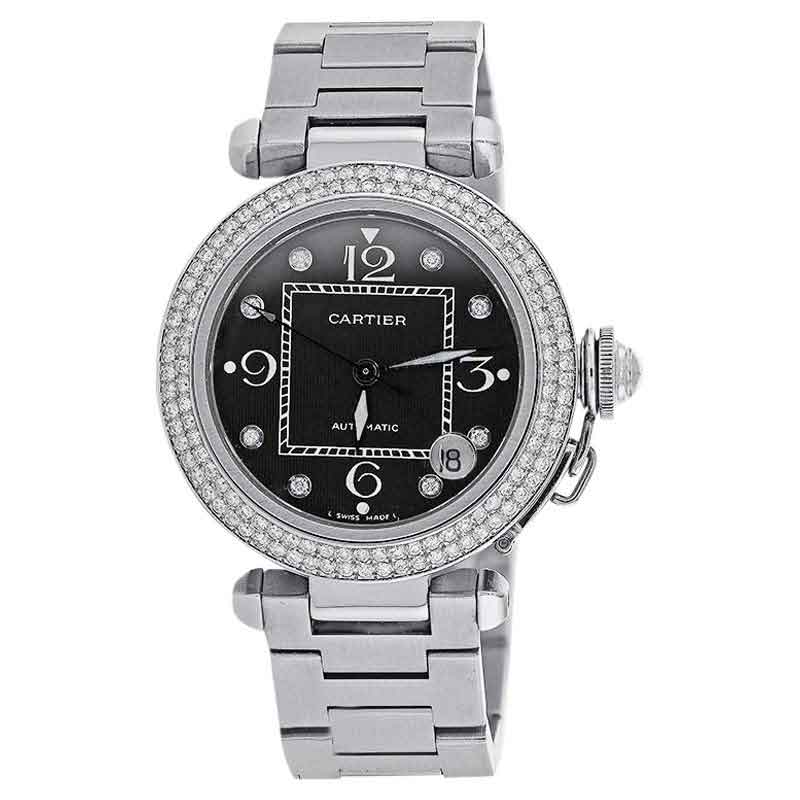 "Image of ""Cartier 2324 Pasha Automatic Midsize Diamond Bezel Stainless Steel"""