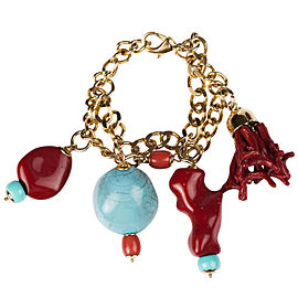 Moschino Faux Turquoise and Red Coral Charm Bracelet