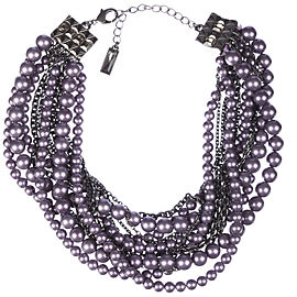 Lia Sophia Fuax Purple Pearl Torsade Necklace