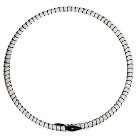 Eddie Borgo White Enamel Silverplated Serpent Collar Necklace