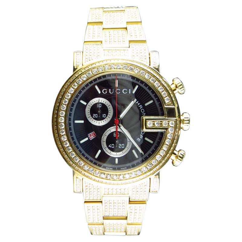 "Image of ""Gucci 101 G Gold PVD Real 44mm Diamond Ya101334 Watch"""