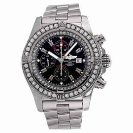 Breitling A13370 Super Avenger Black Dial Diamond Bezel Watch