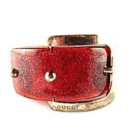 Gucci Glittered Red Lucite Buckle Bracelet
