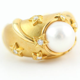 Chanel Stars Pearl and Diamond 18k Yellow Gold Ring