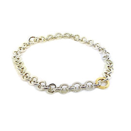 Tiffany & Co. Sterling Silver & 18K Yellow Gold Hoop Link Chain Necklace