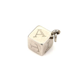 Cartier Vintage Stainless Steel Letter Engraved Box Charm