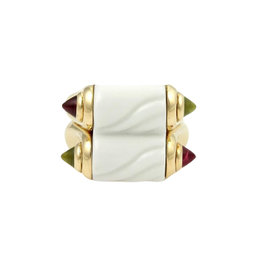Bvlgari Bulgari 18K Yellow Gold Ceramic Tourmaline Double Band Ring