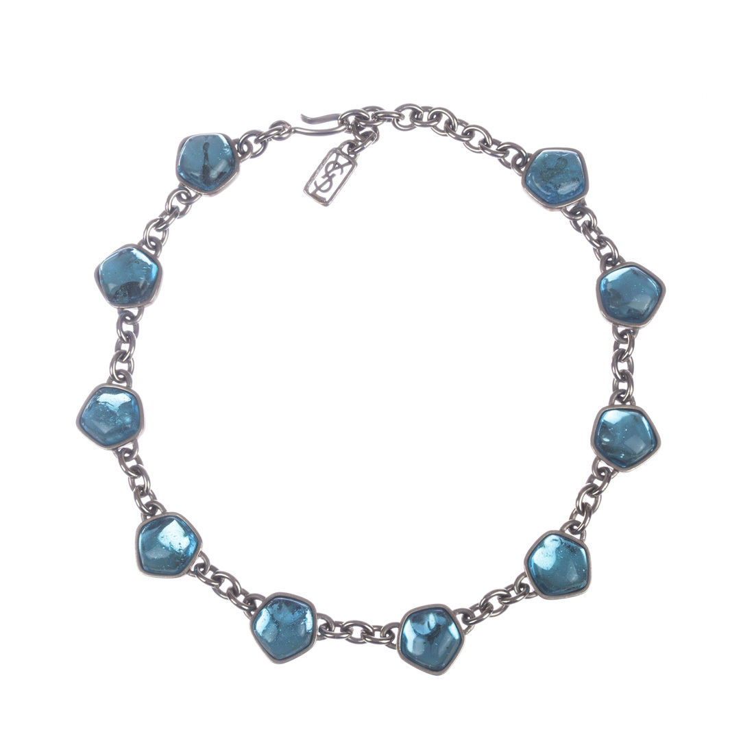 """Image of """"Yves Saint Laurent Blue Topaz Gripoix Glass Cabochon Necklace"""""""
