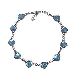 Yves Saint Laurent Blue Topaz Gripoix Glass Cabochon Necklace