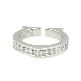 Cartier 18kt White Gold .36ctw Diamond Flat C Ring