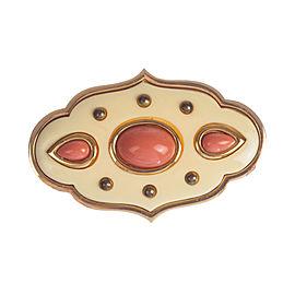 Givenchy Faux Pink Coral Cabochon Pin