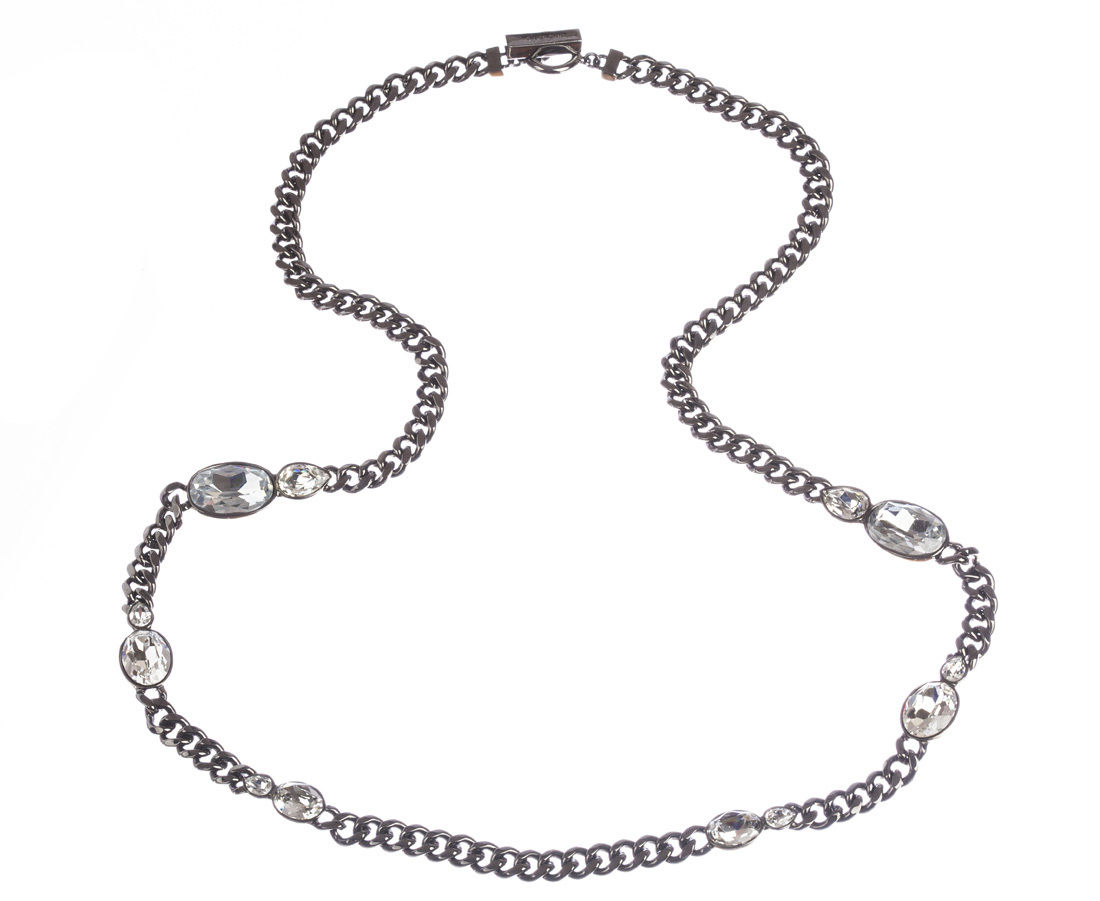 "Image of ""Givenchy Headlight Rhinestone Flapper Necklace"""