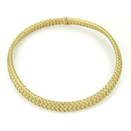 14k Yellow Gold & Sapphire Basket Weave Choker Necklace