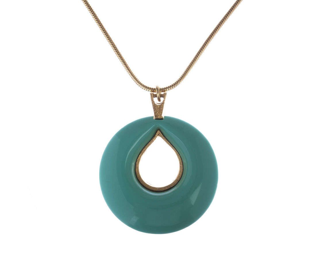 "Image of ""Lanvin Plastic Turquoise Pendant Necklace"""