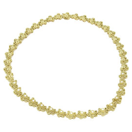 18K Yellow Gold & Diamond Floral Etruscan Design Necklace