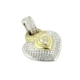 Judith Ripka 18k Y/Gold 925 Silver & Diamond Heart Pendant