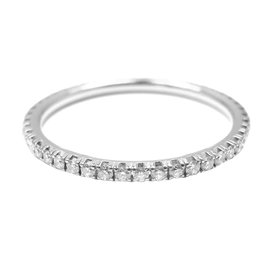 DeBeers Aura 18K White Gold Diamond Eternity Wedding Band Ring