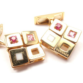Versace 18K Yellow Gold Pink Sapphires Cufflinks