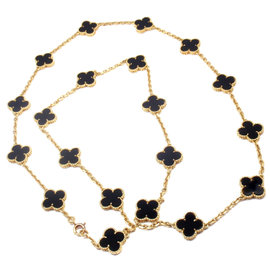 Van Cleef & Arpels 18k Yellow Gold Onyx Vintage Alhambra Necklace