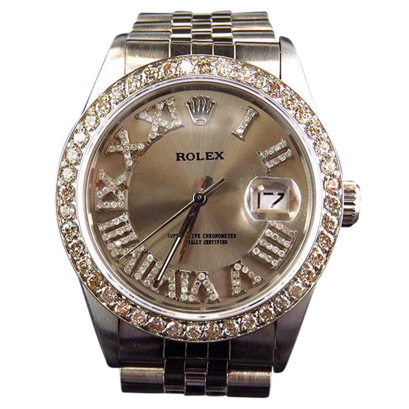 """Image of """"Rolex 36 MM Datejust Jubilee Pave Stainless Steel Diamond Watch"""""""