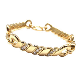 Bulgari 18K Yellow Gold Diamond Link Bracelet