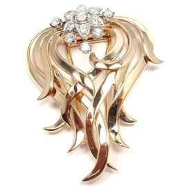 Tiffany & Co. 14K Yellow Gold Platinum & Diamond Pin Brooch