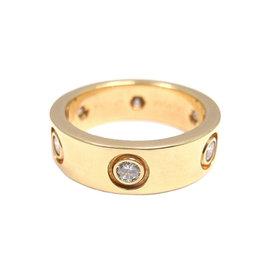 Cartier 18K Yellow Gold 6 Diamond Love Band Ring