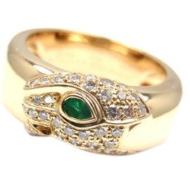 Cartier Panther Panthere 18k Yellow Gold Diamond Emerald Band Ring