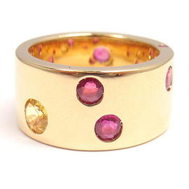 Chanel 18K Yellow Gold Ruby Yellow Sapphire Wide Band Ring