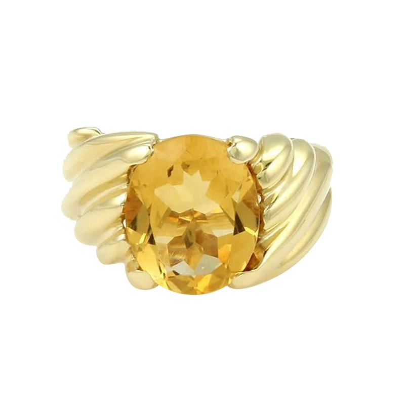 "Image of ""Fred 18K Yellow Gold Oval Shape Citrine Solitaire Ring"""