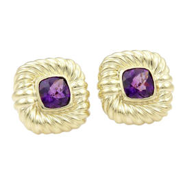 David Yurman 14K Yellow Gold Cushion Cut Amethyst Stud Earrings