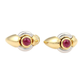 Ebel 18K Two Tone Gold Cabochon Red Tourmaline Oval Hoop Earrings