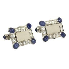 Lucien Piccard Platinum Diamond Sapphire Cufflinks