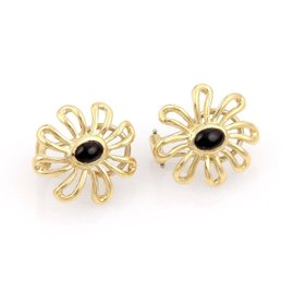 Tiffany & Co. Paloma Picasso 18K Yellow Gold & Black Onyx Daisy Flower Earrings
