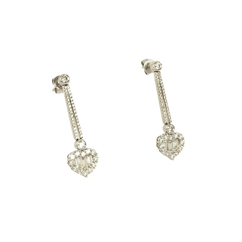 """Image of """"Gregg Ruth 18K White Gold & Diamond Dangle Heart Earrings"""""""