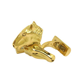 18K Yellow Gold 3D Horse Head Cufflinks