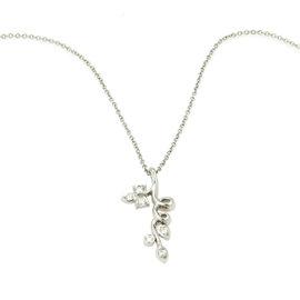 Tiffany & Co. Platinum & Diamond Floral Vine With Leaves Pendant Necklace