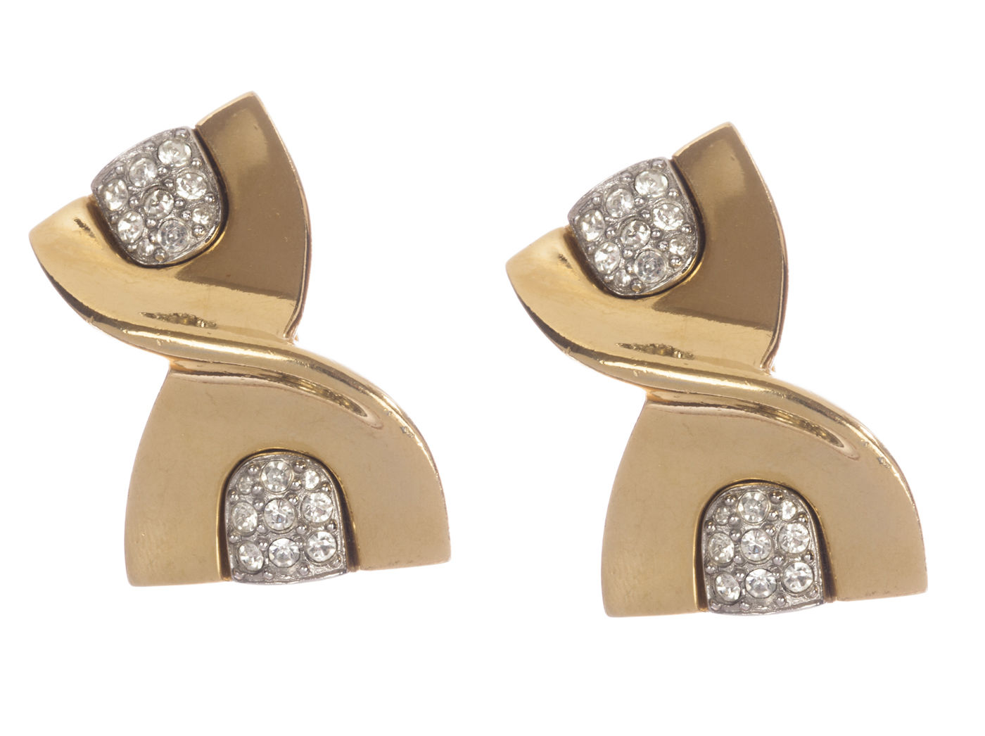"Image of ""Givenchy Abstract Ribbon Rhinestone Earrings"""