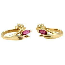 Carrera y Carrera 18kt Yellow Gold & Rubies Lady Hand Earrings