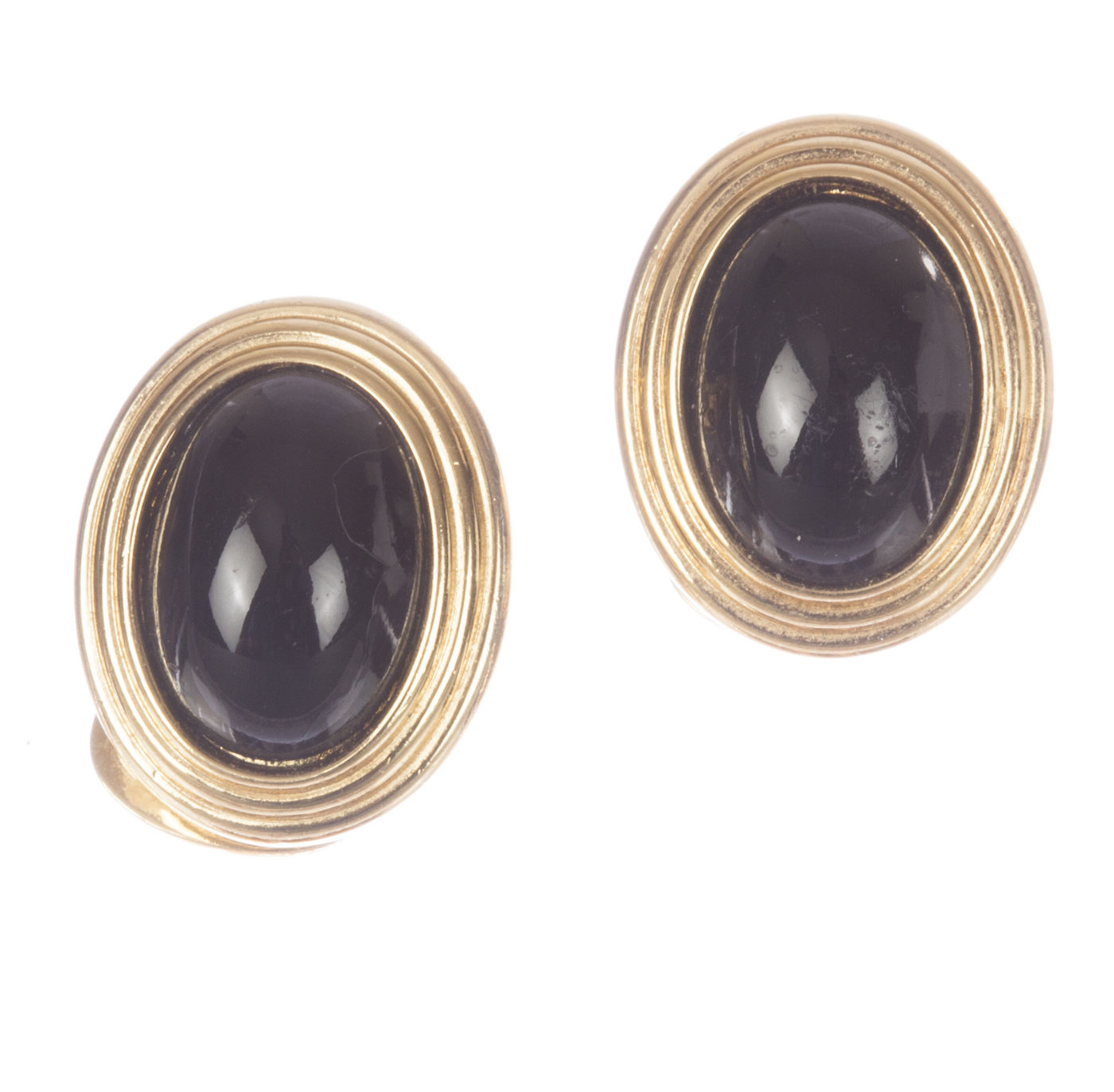 """Image of """"Christian Dior Faux Black Onyx Cabochon Earrings"""""""