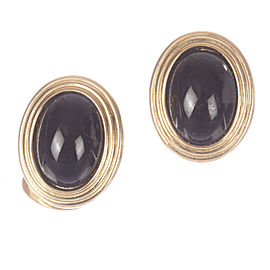 Christian Dior Faux Black Onyx Cabochon Earrings