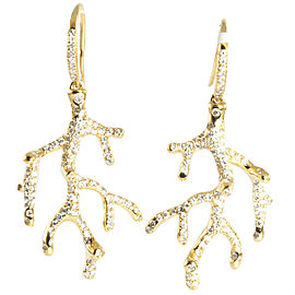 Ippolita 18K Yellow Gold Diamond Drop Dangle Hook Tree Branch Earrings
