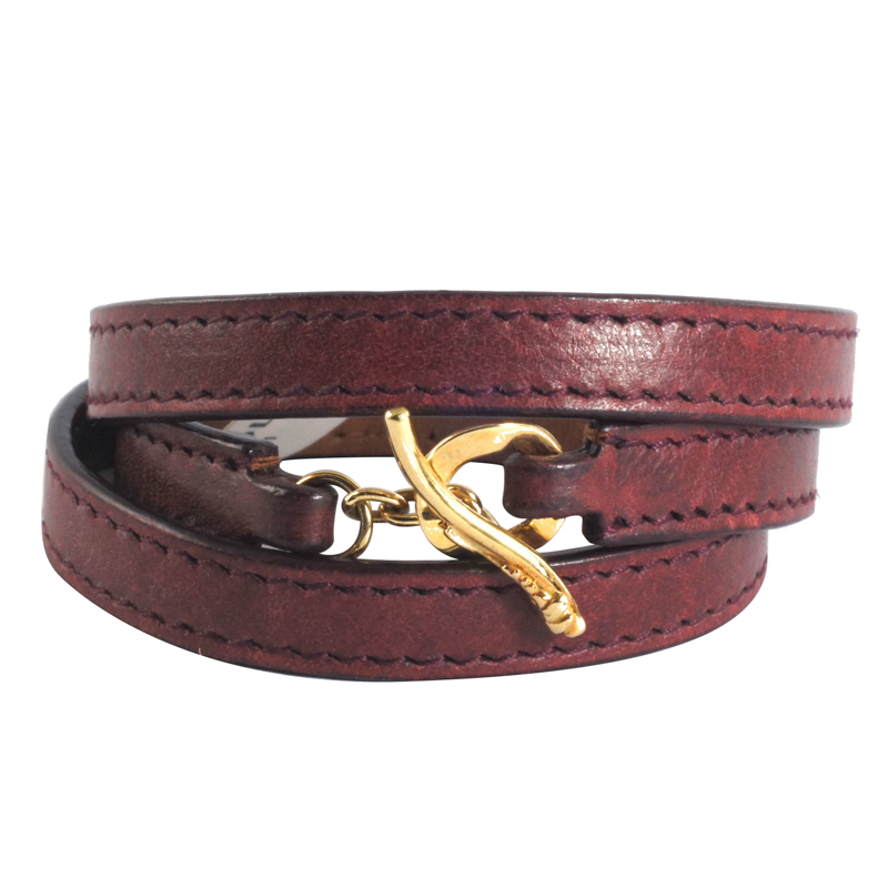"Image of ""Ippolita 18K Yellow Gold Bordeaux Leather Wrap Toggle Pelle Bracelet"""