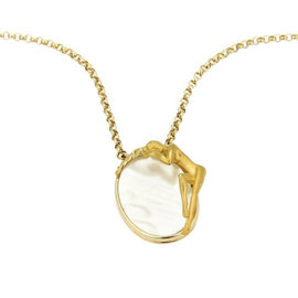 Carrera y Carrera 18K Y/Gold Mother of Pearl & Nymph Oval Pendant Necklace